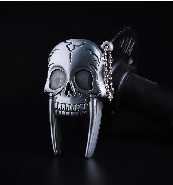 Mini Skull Head Metal Straight Flame Jet Torch Lighter Key