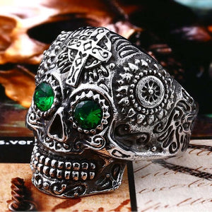 Stainless Steel men's Gothic gold Carving kapala Skull Ring Biker Hiphop rock Jewelry