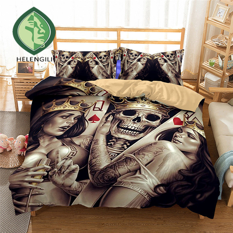 3D Bedding Set skull Print Duvet cover set lifelike bedclothes with pillowcase bed set home