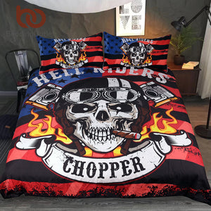 Bedding Outlet Fire Skull Bedding Set Chopper Printed Boys Duvet Cover Set Hell Riders