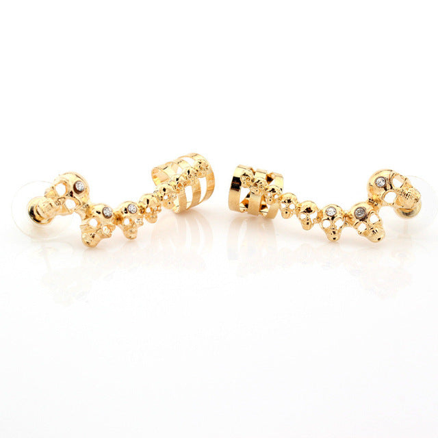 New Fashion Skull Crystal Long Earrings Personality Exaggerated Hallowmas Ear Studs Creative