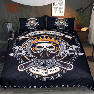 Mechanical Skull Bedding Set Gears Printed Boys Duvet Cover Set Black
