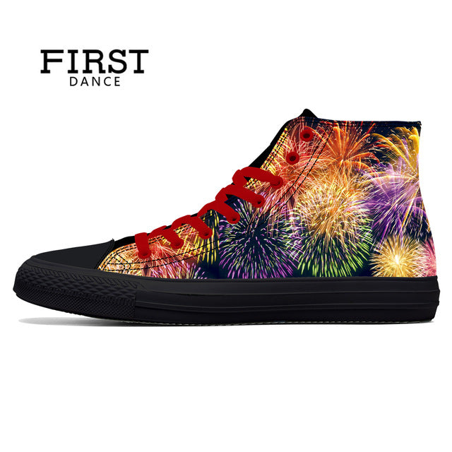 Spring Fire Skull Printed Shoes Black Mens High Top Classic Canvas Shoes 3D Colorful