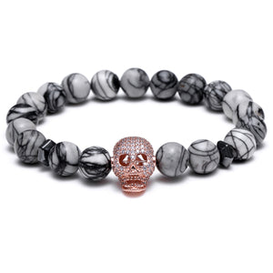 Bracelets for men Nature stone with skull Copper inlaid zircon Jewelry
