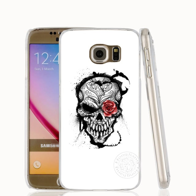 skull flower pirate love cell phone case cover for Samsung Galaxy