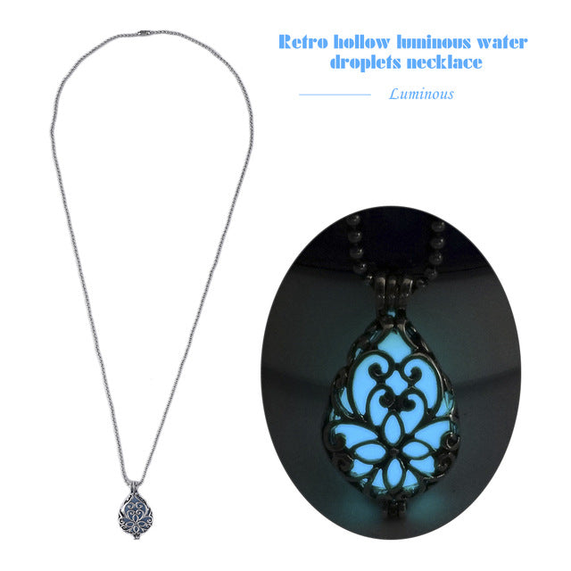 Retro Hollow Out Water Drop Pendant Necklace Noctilucent Glow Bright In Dark Copper