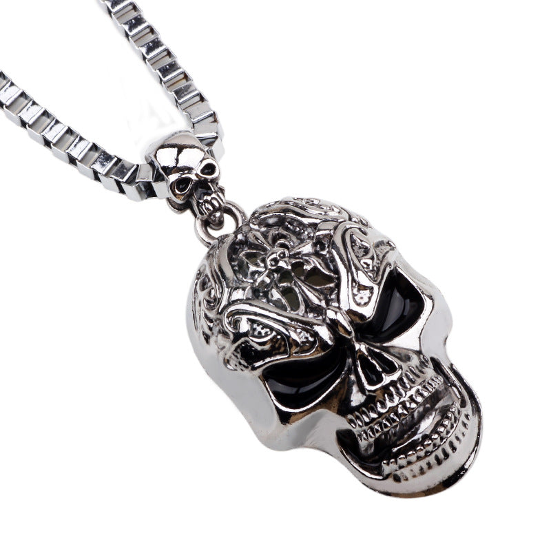 Skull Link Chain Necklaces for Male Necklace Men Silver Neckless Vintage Colar Masculino