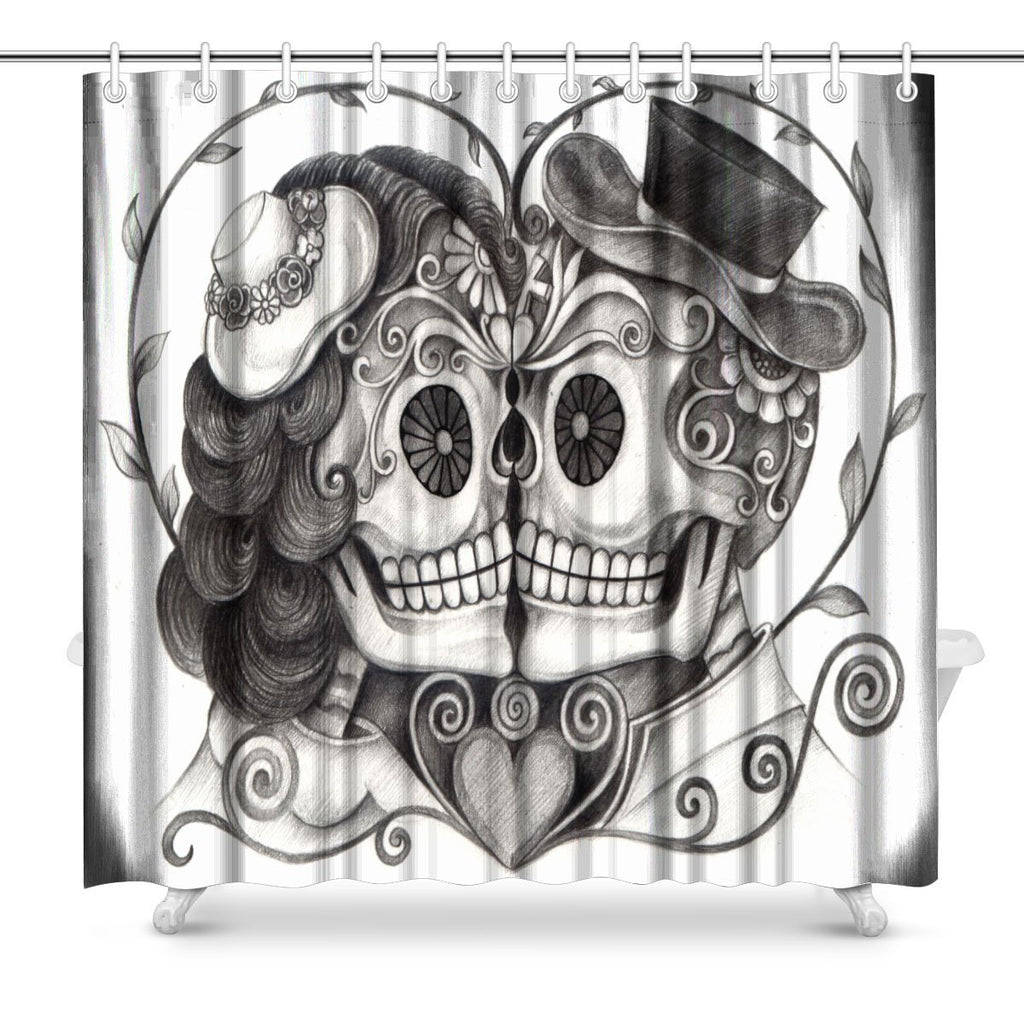 Art Skull Day of the Dead Fabric Shower Curtain Decor with Hooks,  Extra Long