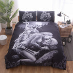 3D Black Motorcycle Skull Printed Duvet Cover Set 2/3pcs Single  Queen King