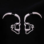 Gothic Punk Silver Color Hollow Out Skull Stud Earrings For Women