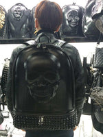 Personalized rivet 3D silicone skull backpack fashion trend black cool  Caps Hiphop Backpacks
