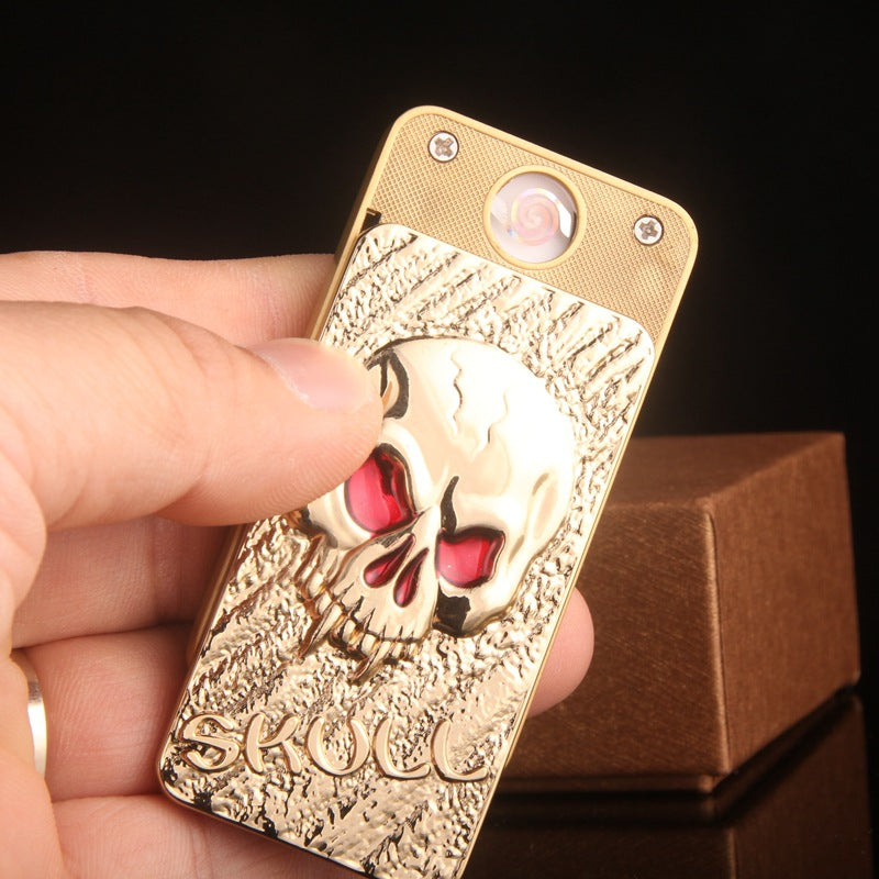 Fashion Skull Shape Environmental Protection Metal Wind-proof Cigarette USB Lighter