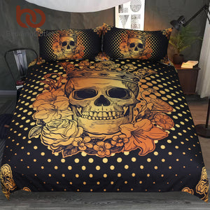 Bedding Set Floral Golden Duvet Cover Adults Black Bedclothes 3-Piece Crown Rose Home Textiles