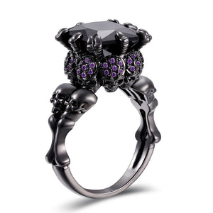 Skull Ring Black Zircon Women's Wedding Ring
