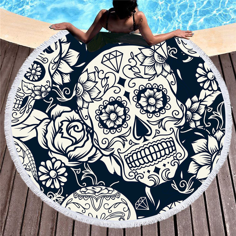 Sugar Skull Printed Large Round Beach Towel for Adults Microfiber Summer Towel