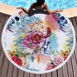 Sugar Skull Printed Beach Towel for Adults Mat Tassel Blanket Large Round