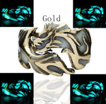 Luminous Dragon Rings Gold Silver Women Rings Glow In The Dark Male Adjustable Ring Jewelry