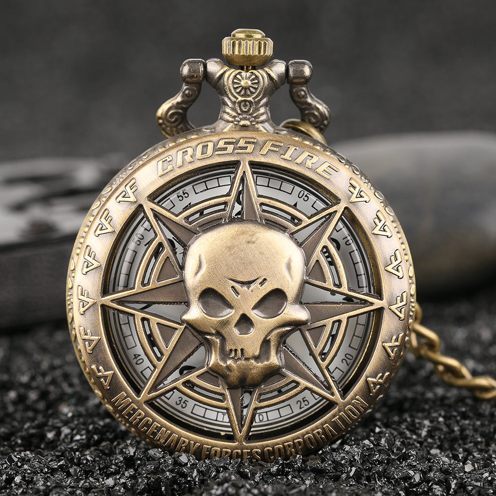 Vintage Bronze Steampunk  Skull Head Horror Quartz Pocket Watch with Chain for Girls and Women