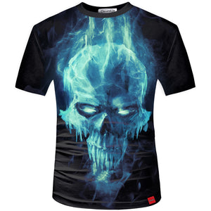 3D Tshirt Men Ice Skull 3D Print Tees Shirt Short Sleeve Mens Women T-shirt Plus Size 5XL Streetwear
