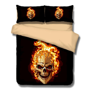 HOT Sale 3D Pattern Sugar Skull  Flame Bedding Set Super King Queen Size