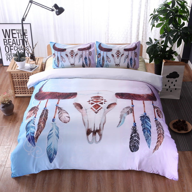 Black and white skull Bedding Set Duvet Printed  Bedding Set 3pcs Duvet Cover and Pillow Case
