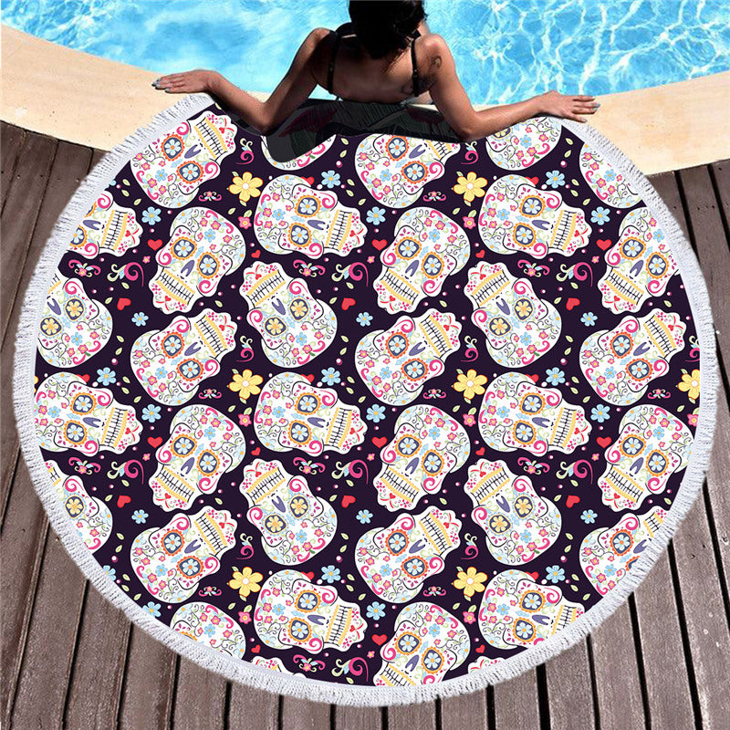Large Round Beach Towel for Adults Sugar Skull Printed Soft Microfiber Bath Towel