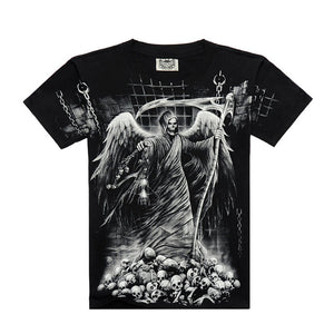 Death skeleton figures rock t-shirts with Dragon/Wolf/skull/angel short sleeves cotton