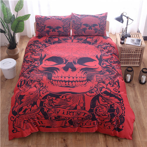 Red Skull Printed Duvet Cover Set 2/3pcs Single Double Queen King Bedclothes