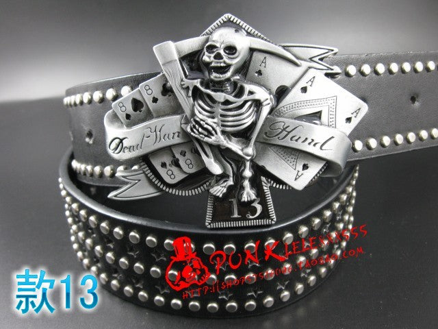 Fashion men Punk belt skull street dance full rivet belts heavy metal rock belt