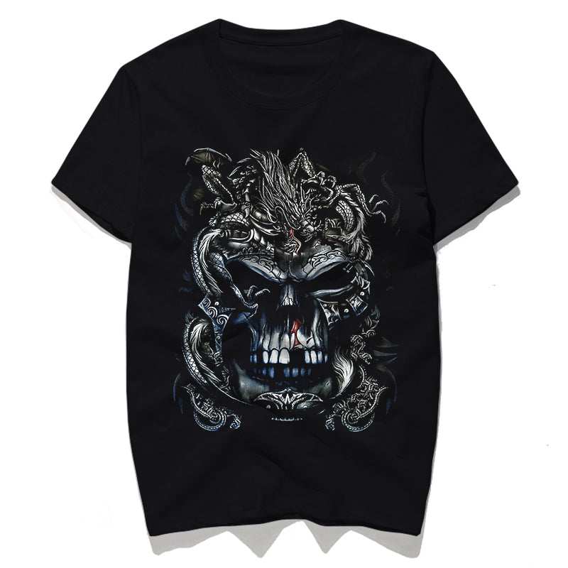 Rocksir dragon skull 3d printed t shirt men O-neck male t-shirts punk style cool summer tees fitness