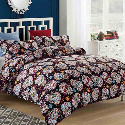 Skull Bedding Set Floral Duvet Cover Set Quilt Cover Bed Cover Pillow Cases Single Double Queen King