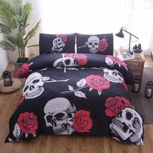 Black Skull Printed Duvet Cover Set 3Pcs Single Queen King Bedclothes Bed Linen Bedding Sets