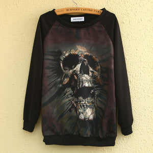 Hoodies printed Skull Long Sleeve Women's casual sweatshirt hoody Clothing