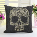 Handsome Skull Black Retro Vintage Style Linen Decorative Throw pillow square cushion cover