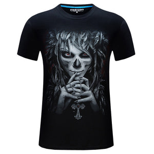 Summer Short Sleeve Cotton Rocksir O-Neck Tshirt 3D Printer Hip Hop Design Skull Tee Shirt 6XL