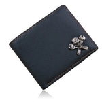 Business Men Leather Wallets Skull Rivet Card Holder Multi Pockets