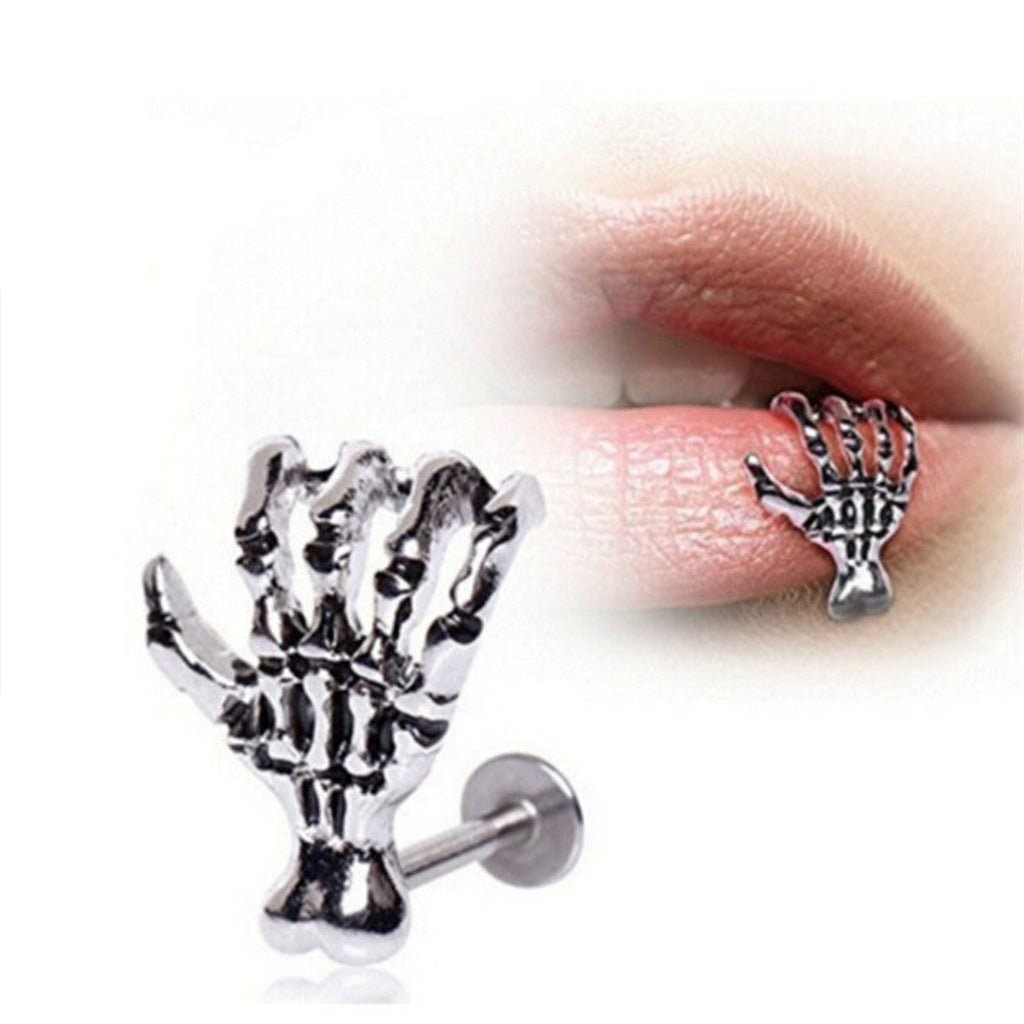 1pc Punk Piercing Nose Lip Jewelry For Man Women Studs Hip Hop Rock Skeleton Skull Hand Lip