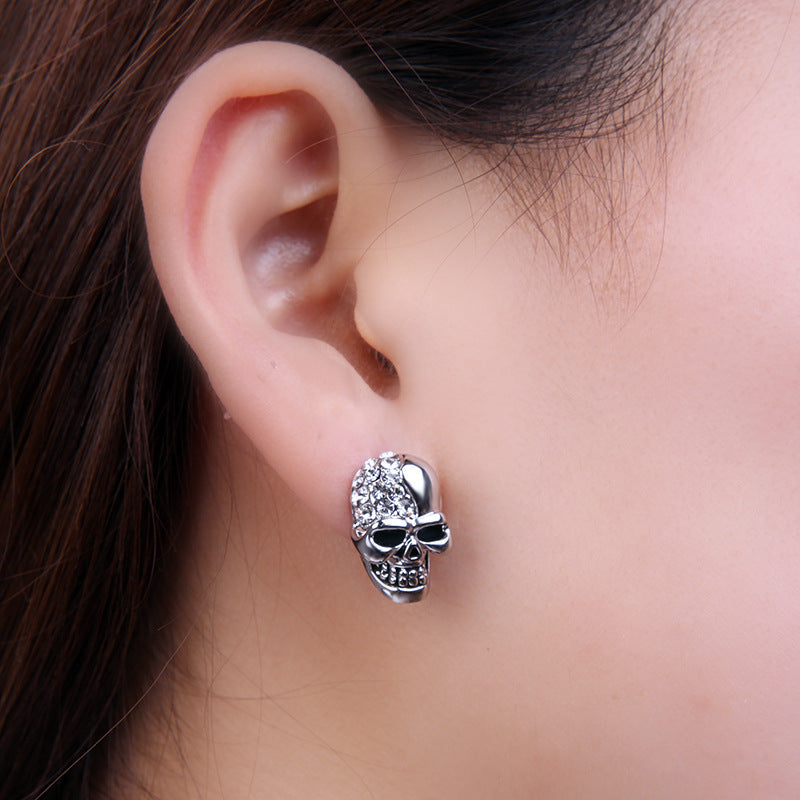 Rhinestone Rock Punk Skull Crystal Silver Tone Stud Earrings For Women Men Earrings