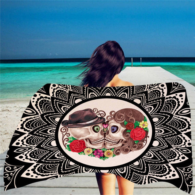 Sugar Skull Polyester Print Beach Towel for Adult Yoga Mat