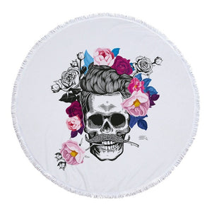 Tapestry Skull Round Tassel Beach Towel Yoga Mat Wall Hanging Decorative