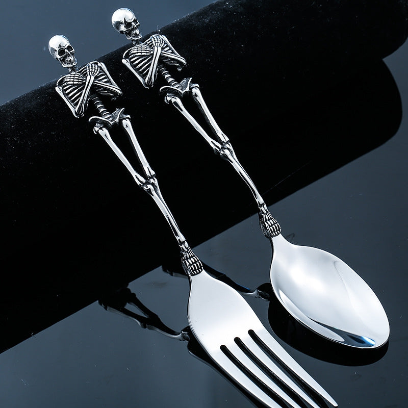 Titanium Steel Spoon Fork Tableware Skeleton Skull Stainless Steel Silver Black
