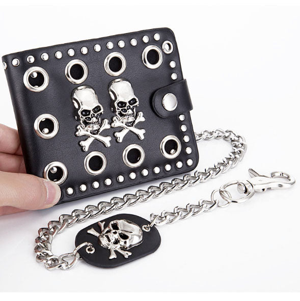 Hot Cheap New Designed Skull Purse For Men Boy Wallet With Chain