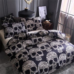 3D Skull Bedding sets,Digital Printing Day of the Dead Sugar Skull with Floral 3Piece Duvet Cover Sets