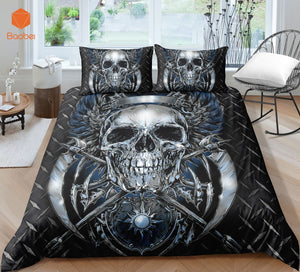 3D Skull Silver AX  Beddingt set With Pillowcas Cartoon Bed Duvet Cover for Kids 3pcs Bedclothes Quilt Cover