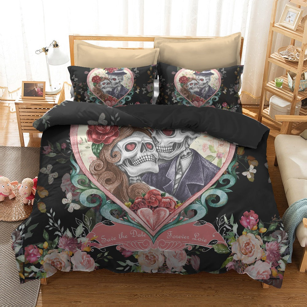 Sugar skull Black Bedding Set Pillowcases Duvet Cover Quilt Cover For Kids Queen King Sizes Bedspreads