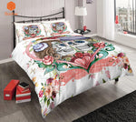 3Pcs Sugar Flowers Heart Skull White Bedding Set Pillowcases Duvet Cover Quilt Cover For Kids Queen King Sizes Bedspreads