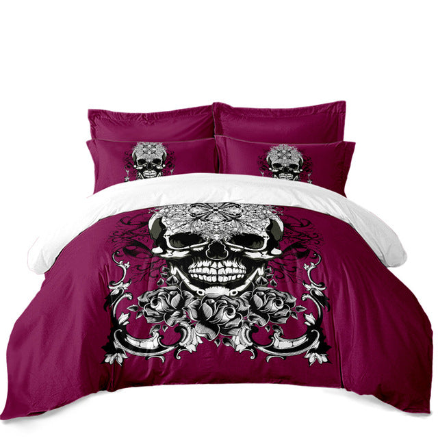 3Pcs Sugar Skull Bedding Set Rose Print Duvet Cover King Queen Bed Cover Girls Sweet Bedclothes Pillowcase Halloween Gift