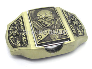 Bronze Skull Lighter Belt Buckle
