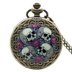 Fashion four skull pocket watch men women watches pandent with necklace