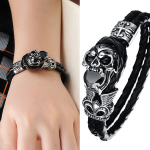 High Quality Genuine Leather Bracelet Titanium Stainless Steel Jewelry Cool Punk Rock Style